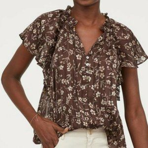 H&M Brown Floral Blouse NWT Size 8